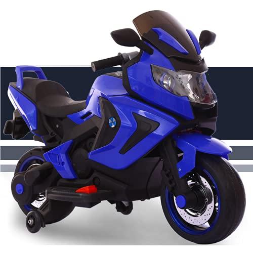 FP-TECH Moto ELETTRICA per Bambini Motocicletta 2 POSTI 12V con USB MP3 LED (Blu)