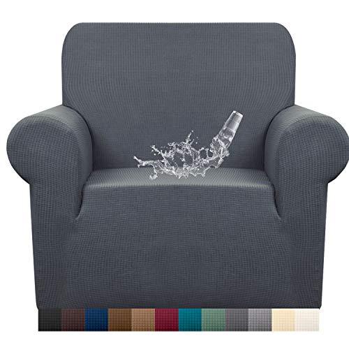 Granbest Stretch Wasserdicht Sofabezug 1 Stück Sofahusse Spandex Jacquard Elastische Couchbezug mit Anti-Rutsch-Schaumstoffe (1 Sitzer, Grau)