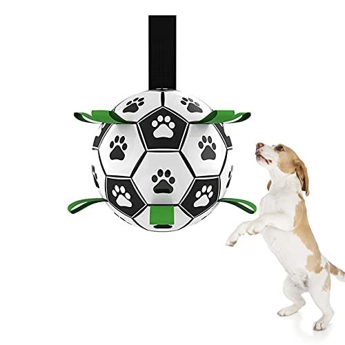 Juguete para Perros, 15 cm Juguetes de Inteligencia de Fútbol para Perros Resistente con Pestañas de Agarre, Juguetes Interactivos para Perros Pequeños, para Tira y Afloja Agua Mordida para Perros