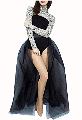 L'VOW Women' 4 Layers Overlay Long Tulle Dress Floor Length Tutu Skirt for Party Wedding (Black)