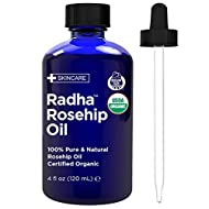 Radha Beauty Rosehip Oil USDA Certified Organic, 4 oz. - 100% Pure & Cold Pressed. All Natural Anti-Aging Moisturizing Treatment for Face, Hair, Skin & Nails, Acne Scars, Wrinkles, Dry Spots