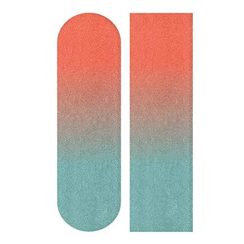 Wudan Skateboard Griptape Blatt 83,8 x 22,9 cm Cyanblau Orange blasenfrei wasserdicht Scooter Grip Tape, Longboard Griptape, Schleifpapier für Rollerboard