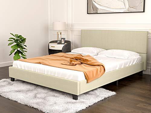mecor Upholstered Linen Full Size Platform Bed Metal Frame, Mattress Foundation with Wooden Slats Support, No Box Spring Needed - Full, Beige