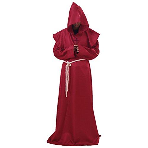 Disfraz de monjes medievales de AmosfunHalloween clásico fraile mago cosplay talla XL (rojo)