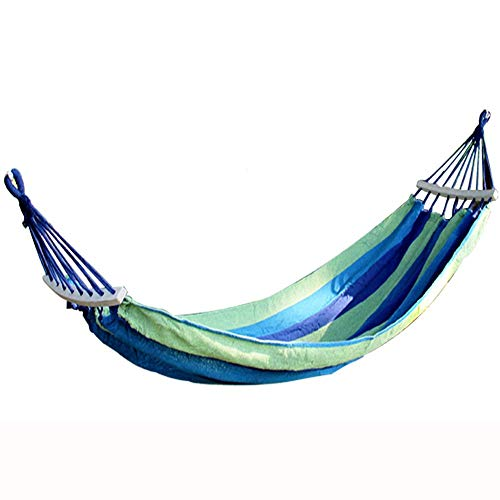 ZTMN hangmat, outdoor volwassenen camping canvas, om zijwaartse schommeling met houten stok te voorkomen, slaapzaal hangstoel, 200 * 150 cm (kleur: blauw) blauw