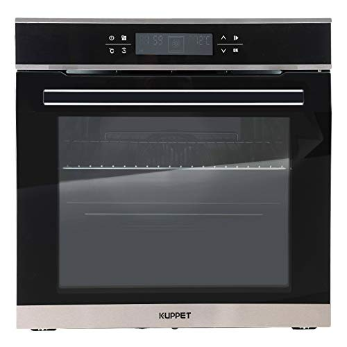 KUPPET 24' Electric Single Wall Oven with 10 Functions, Tempered Glass, Digital Display, Touch Controls, Built-In or Under-Counter, Faster Cooking Convection E750100-H1