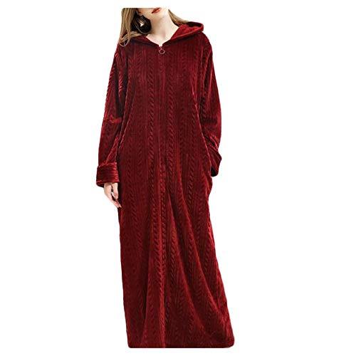 Cicongzai Dames Herfst en Winter Rits Badjas met capuchon Nachtjapon Verdikking pyjama Flannel Nachtkleding