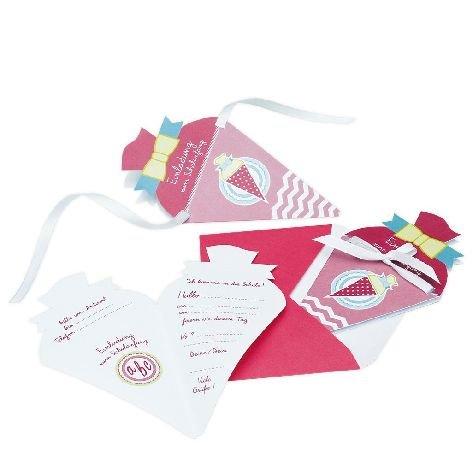 Einladungskarte 4 Stück Schulanfang Schultüte pink grün in Packung