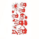 Berryhot Halloween Decorations&Halloween Bloody Handprint Footprint Sticking Wall Sticker Horror PVC Decoration