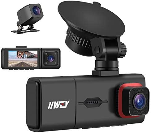 3 Channel Dash Cam with IR Night Vision IIWEY Full HD 1080P Front Inside Rear Three Way Dash product image