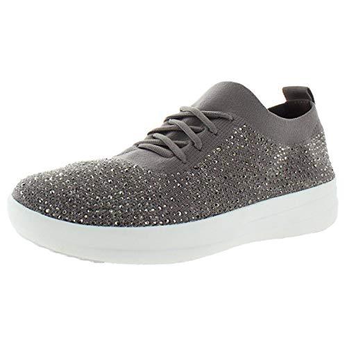 FitFlop Womens F-Sporty Uberknit Crystal Lace Up Sneaker, Mink/Grey, US 6.5
