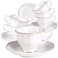 ceramica set tazzine da caffè - 80ml/2,8oz bianche servizio 6 moderne tazzine da caffè con piattini bordo dorato per espresso, latte, tè