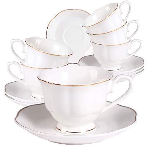 Neue Bone China Weiß Klein Kaffeetassen mit Untertassen 6er Set - 2,8OZ Gold Rand Tee Tassen mit Untertassen für Schwarzer Kaffee, Eiskaffee, Espresso