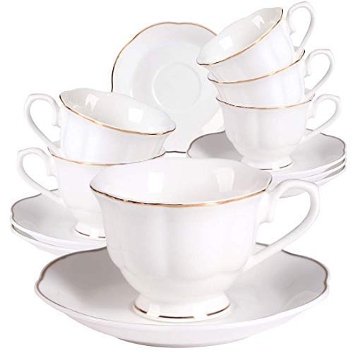 New Bone China Modern Elegant Design Espresso Coffee Cups and Saucers-Set of 6 80ml 2.8oz Small White Mini Cups Set with Gold Edge Handle