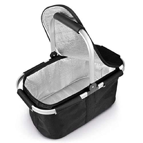 Isolierter Handkorb, Großer Picknickkorb, Faltbarer Einkaufskorb Mit Deckel 47 * 27 * 23cm Einhand schwarz