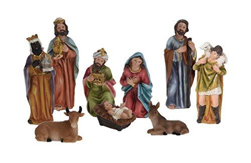 Weihnachtskrippe Figuren Set 9-teilig - Weihnachtsdekoration Krippenfiguren Krippenzubehör Krippe Figur
