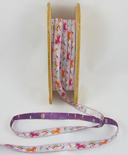 Design: Stoffwelten Rainbow Unicorns, rosa, Farbenmix, Webband, Meterware, 1meter, nähen