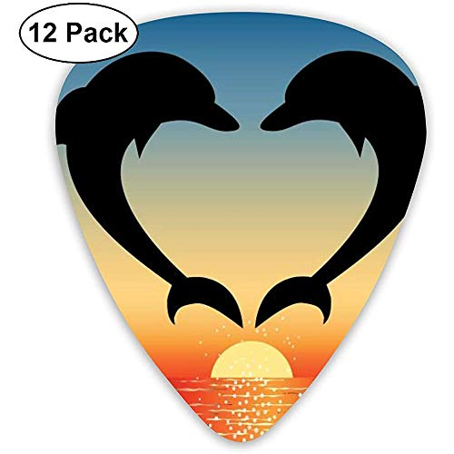 Dolphin Heart and Palm Trees at Sunset Guitar Picks 12 Ukulele Picks, incluyendo 0.46 Mm, 0.71 Mm, 0.96 Mm Guitarra acústica