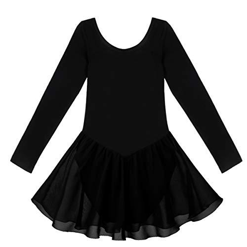 iiniim Maillot Ballet Niña Mangas Largas Vestido de Danza mono Leotardo Gimnasia Algodón Traje Bailarina Elástico 2-12 Años Negro XL/8-10 años