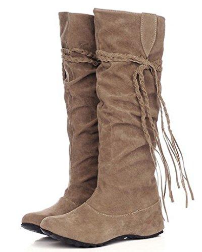Minetom Herbst Und Winter Frauen Hohe Stiefel Mattoberflächen Höhe Erhöhen Schuhe Mit Quaste Rüschedekoration Khaki 37