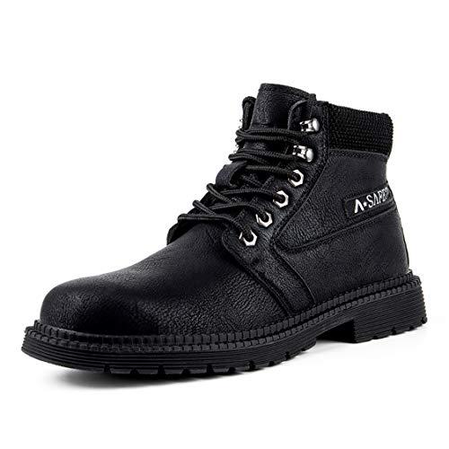 HMAKGG Mujer Hombre Invierno Botas de Seguridad Hombre Impermeable con Puntera de Acero S3 Zapatos de Trabajo Entrenador Unisex Zapatillas de Senderismo,Negro,45 EU
