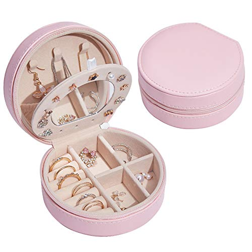 Jewelry Box, Double Half Round Jewelry Box, PU Leather, for Earring Bangle Bracelet Necklace and Rings, Portable, 11 * 9 * 5.5Cm/4.33 * 3.54 * 2.17In,Pink