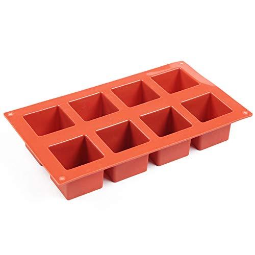 Molde de silicona cuadrado de 8 cavidades DIY Mousse Postre Cubo Mágico Hornear Herramientas de Cocina