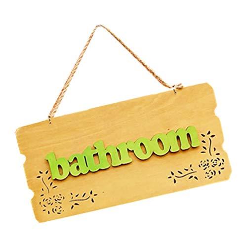 BESPORTBLE Baño Puerta Cartel Colgante Retro Decorativo Contemporáneo Letrero de Madera Personalizado Placa de Placa de Baño Colgante Arte de Pared para Oficina en Casa Comercial Baño
