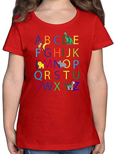 Einschulung und Schulanfang - ABC Einschulung - 140 (9/11 Jahre) - Rot - t Shirt zur Einschulung - F131K - Mädchen Kinder T-Shirt