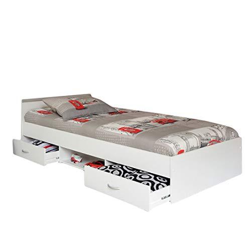 Funktionsbett Alawis inkl Matratze + Lattenrahmen 90 * 200 cm 2 Roll-Bettkästen Weiß Kinderbett Jugendbett Gästebett Bettliege Kinderzimmer