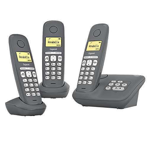 Gigaset A280A Trio - 3 Schnurlose Telefone mit Anrufbeantworter - brillante Audioqualität auch beim Freisprechen - intuitive, symbolbasierte Menüführung - Kurzwahltasten - Grafikdisplay, dunkelgrau
