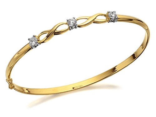 F.Hinds 9ct Yellow Gold Cubic Zirconia Double Kiss Bangle Bracelet Jewelry...