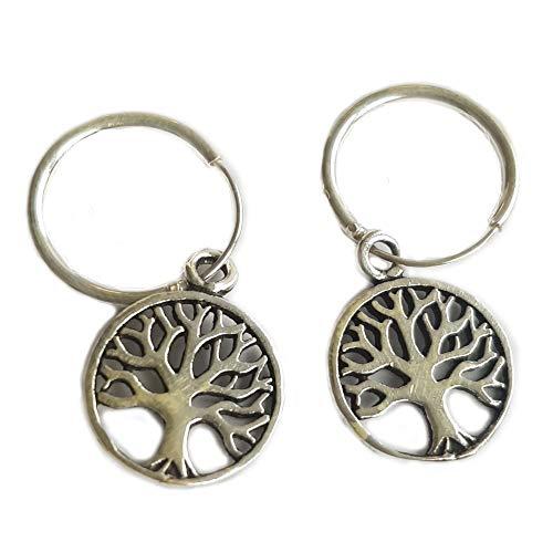 Pendientes aro Claro Schmuck'Árbol de la vida' en plata (aprox. 1 cm) pendientes-joyería de mujer Boho.