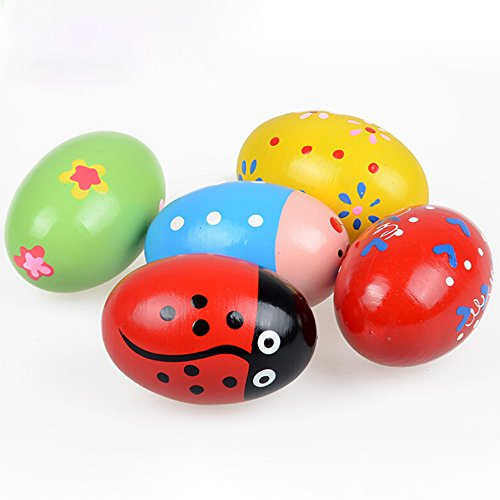 UKtrade Huevo de arena divertido niños divertido instrumento de música niños de madera huevos instrumentos percusión juguetes musicales color aleatorio (color aleatorio)