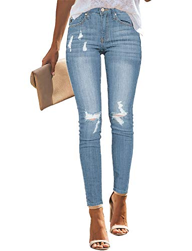 Roskiky Damen Stretch Ripped Holes Mittlere Taille Skinny Jeans Hellblau Large