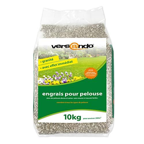 Langzeitwirkung mit versando Rasendünger/Frühlingsdünger 10 Kg für ca. 300m² sattgrünen Rasen, ganzjährig - ohne Moos und Unkraut, NPK-Dünger