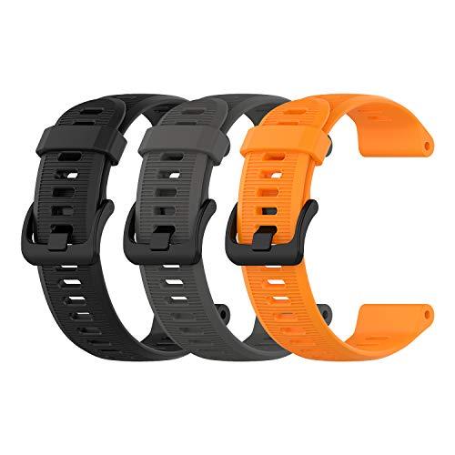 EEweca 3-Pack Silicone Bands for Garmin Forerunner 945 Smartwatch Replacement Strap (Black, Gray, Orange)