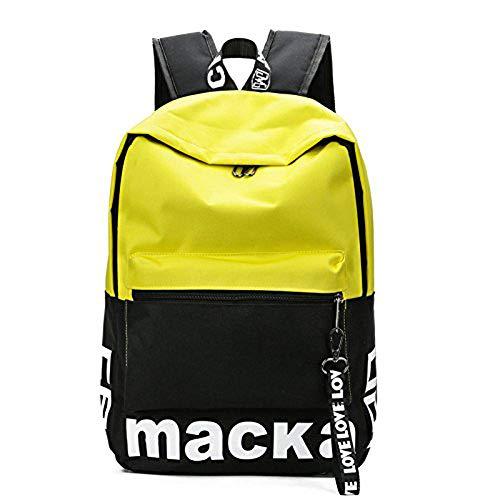Étudiant de l'école Big Backpack Book Sac Voyage Sac à dos pour ordinateur portable Middle College High Student, grande capacité, Casual toile sac à dos, Sport en plein air, Style lettre, Jaune