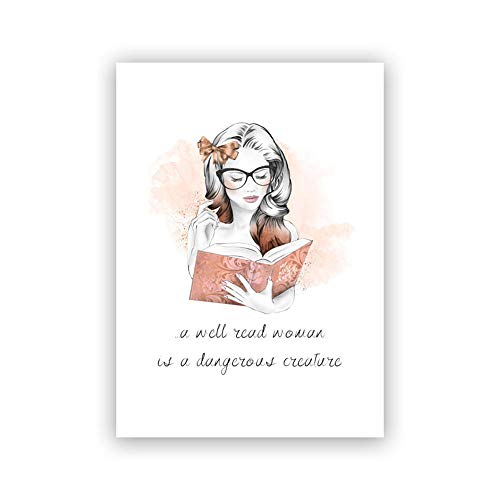 A Bueno Leer Mujer Poster Lindo Chica Lienzo Imprimir Acuarela Pintura Libro Amante Regalos Pared Arte Cuadro Adolescente HabitacióN Dormitorio Oficina Decoracion 30x40cm No Marco