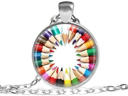 Bleistift-Halskette, Geschenk für Künstler, Anhänger, Buntstift, Halskette, Schmuck, künstlerischer Anhänger