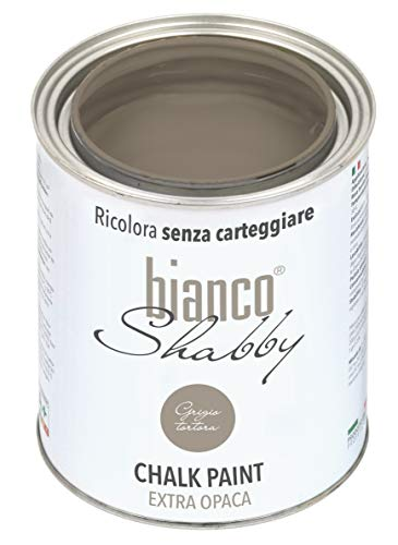 bianco Shabby Chalk Paint Gris pardo para muebles y paredes - Pintura Shabby Chic Vintage Extra Mate (1 L)