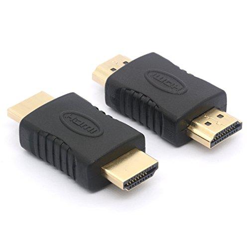 Lot de 2 coupleurs HDMI mâle vers HDMI mâle droit en ligne 19 broches pour téléviseur HD