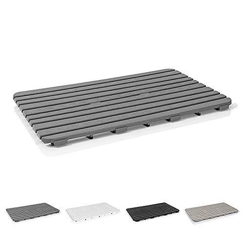 Pedana doccia Antiscivolo rettangolare, 80x50x2.5 cm, PP alta resistenza ideale per interno esterno (Grigio)