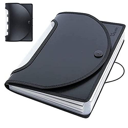 Uquelic Tecla de Piano Carpetas Clasificadora de Acordeón 12 Bolsillos Acordeon Documentos de Gran Capacidad Soporte Extensible Portátil Ampliable Carpetas Clasificadores a4
