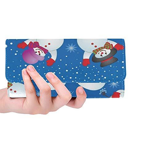 Einzigartige benutzerdefinierte Weihnachtskarte Schneemann Frauen Trifold Brieftasche Lange Geldbörse Kreditkarteninhaber Fall Handtasche