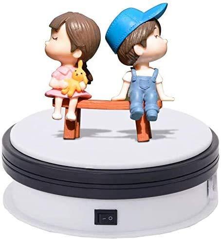 Sanato 360度ターンテーブル 耐荷重15kg直径15cm 回転台 電動ターンテーブル フィギュア/撮影用 白NA150