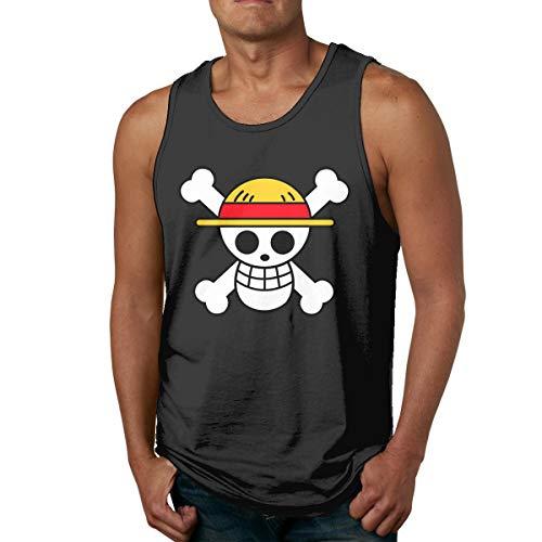 Johnson hop Camiseta sin Mangas sin Mangas para Hombre con Logotipo de One Piece Camisetas Deportivas Gym(L,Negro)