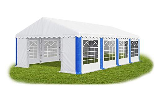 Das Company Partyzelt 4x8m wasserdicht weiß-blau Zelt 240g/m² PE Plane hochwertig Gartenzelt Summer PE