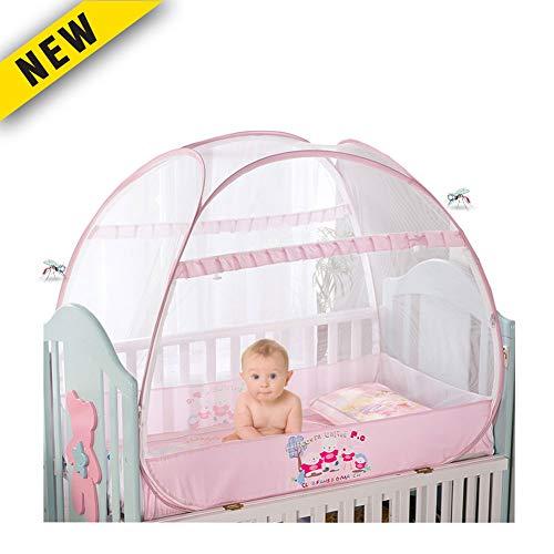 Douer Moskitonetz Baby, Unisex Babybett Moskitonetz, Baby Moskito Insektennetz - Katzennetz mit Reißverschluss für schnellen, einfachen Zugang zu Ihrem Baby,Rosa,140×70×110cm