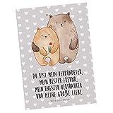 Mr. & Mrs. Panda Grußkarte, Karte, Postkarte Bären Liebe mit Spruch - Farbe Grau Pastell
